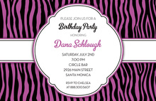 Fairy Purple Zebra Party Shower Invitations