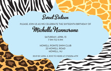 Quad Animal Print Blue Invitations