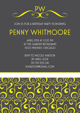 Modern Yellow Filigree Pattern In Charcoal Invitations