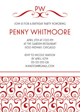 Solid Red Filigree Style White Background Invitations
