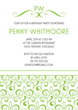 Timeless Green Filigree Stylish Party Invitations