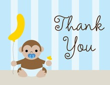 Cute Monkey Blue Pacifier Thank You Cards