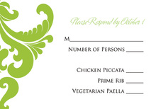 Ornate Lime Damask RSVP Cards