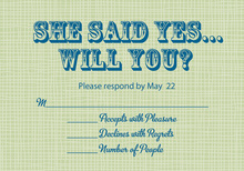 She Said Yes Sage RSVP Cards