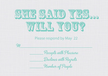 She Said Yes Gray RSVP Cards