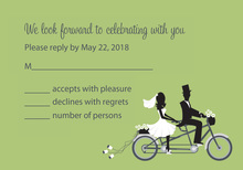 Bicycle Built For Two Green RSVP Cards