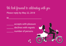 Bicycle Built For Two Hot Pink RSVP Cards