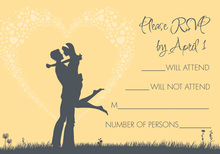 Silhouette Love Yellow RSVP Cards