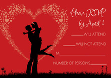 Silhouette Love Red RSVP Cards