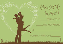 Silhouette Love Green RSVP Cards