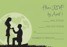 Moonlit Proposal Green RSVP Cards