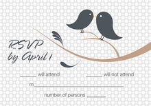 Birds Of A Feather Charcoal RSVP Cards