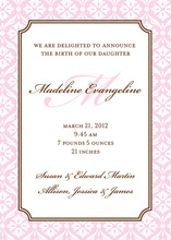 Elegant Pink Damask Border Invitations
