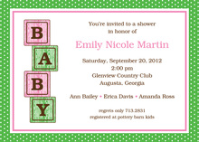 Pink Baby Block Shower Invitations