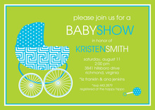 Bright Blue Baby Buggy Invitations