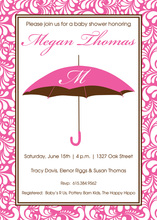 Pink Umbrella Initial Monogram Invitations