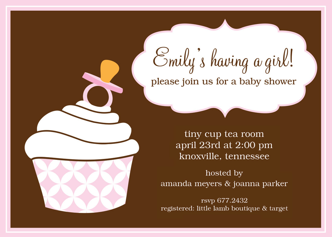 Cute Cupcake Pacifier Shower Invitations