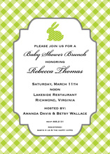 Green Polka Dot Bunny Invitations