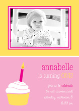 Pink Yellow Cupcake Birthday Photo Cards