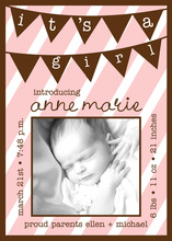 Pink Baby Girl Banner Photo Cards
