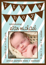 Blue Baby Boy Banner Photo Cards