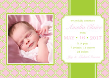 Pink Baby Girl Pattern Photo Cards