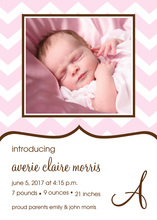 Pink Chevron Photo Announcements