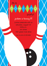 Blue Birthday Bowling Party Invitations