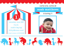 Blue Circus Birthday Party Invitations