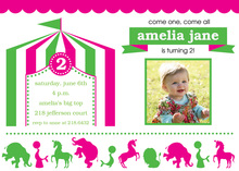 Pink Circus Birthday Party Invitations