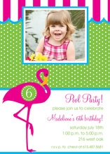 Circle Pink Flamingo Party Invitations