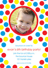 Bounce Party Blue Red Yellow Dots Invitation