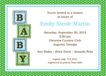 Blue Baby Block Shower Invitations