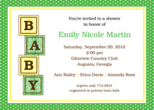 Yellow Green Baby Blocks Invitations
