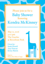 Blue Giraffe Shower Invitations