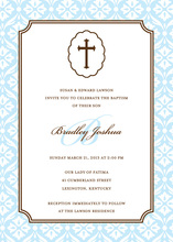 Baby Boy Cross Religious Invitations