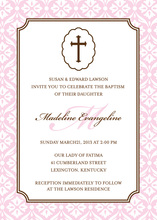 Baby Girl Cross Religious Invitations