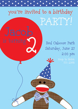 Blue Sock Monkey Party Invitations