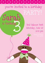 Pink Sock Monkey Party Invitations