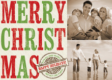 Traditional MERRY CHRISTMAS Text Photo Cards