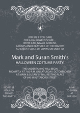 Scary Grey Skull Halloween Invitations