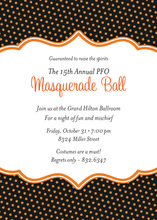 Whimsical Orange Polka Dots Halloween Invitation