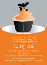 Cupcakes Halloween Bat Invitation