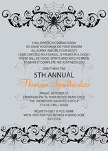 Spooky Spider Silver Invitation