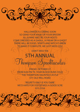 Spooky Spider Orange Invitation