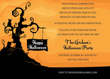 Happy Halloween Tree Silhoutte Invitation