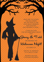 Witch Silhoutte Orange Pattern Invitation