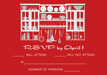Red Kitchen Shelves RSVP Cards