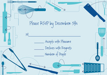 Cooking Directions Blue RSVP Cards