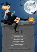Pretty Blonde Halloween Witch Invitation